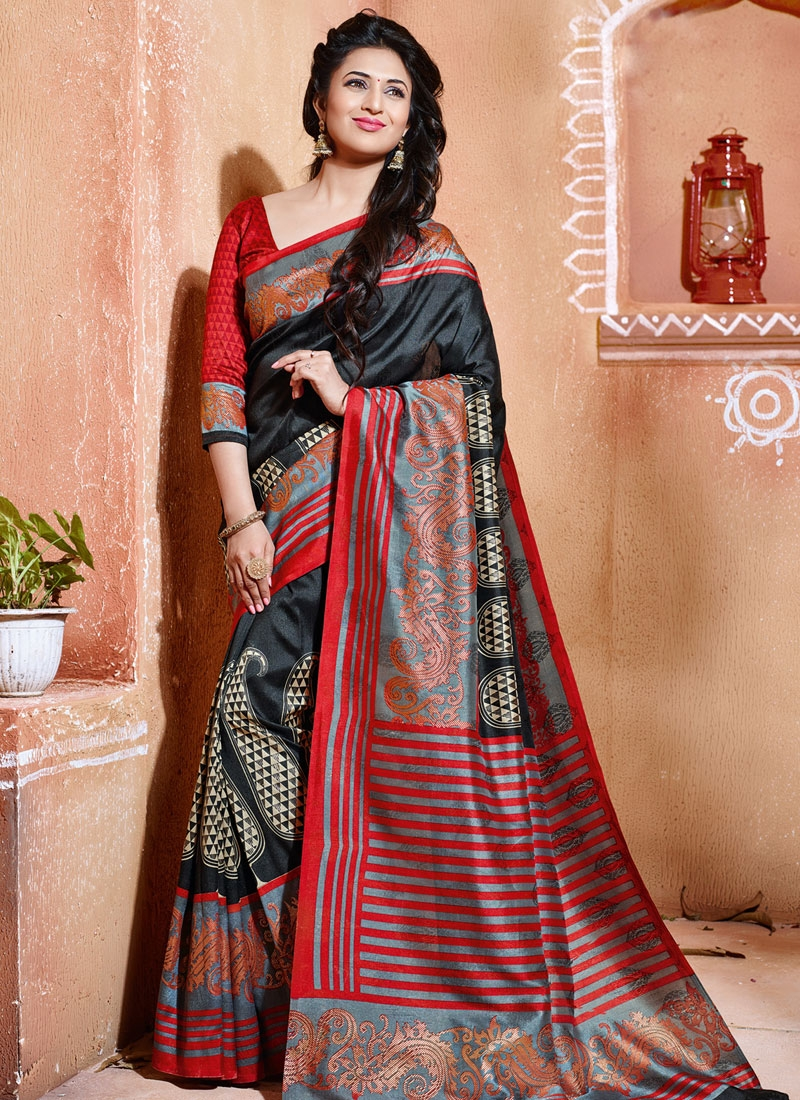 Free Shipping Women/'s  Art Silk Saree with Blouse Piece Black Color-Free Size
