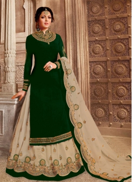 Drashti Dhami Beige and Bottle Green Embroidered Work Kameez Style Lehenga Choli