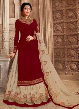 Drashti Dhami Beige and Maroon Designer Kameez Style Lehenga Choli For Ceremonial