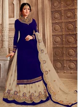 Drashti Dhami Beige and Navy Blue Designer Kameez Style Lehenga