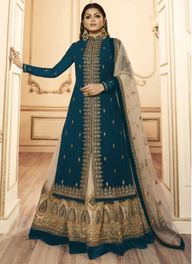 Drashti Dhami Beige and Teal Kameez Style Lehenga Choli For Festival