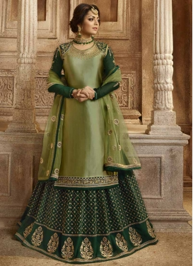 Drashti Dhami Bottle Green and Olive Kameez Style Lehenga Choli For Party