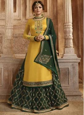 Drashti Dhami Embroidered Work Designer Kameez Style Lehenga Choli