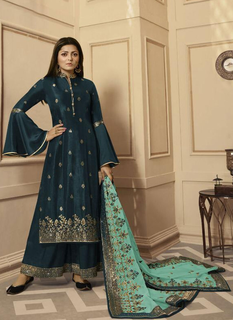 Drashti Dhami Embroidered Work Palazzo Straight Salwar Kameez