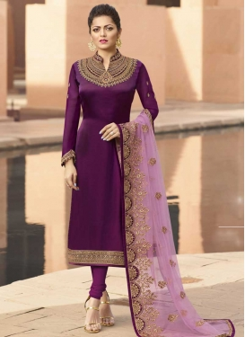 Drashti Dhami Embroidered Work Satin Georgette Trendy Pakistani Salwar Suit