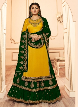 Drashti Dhami Green and Yellow Faux Georgette Kameez Style Lehenga
