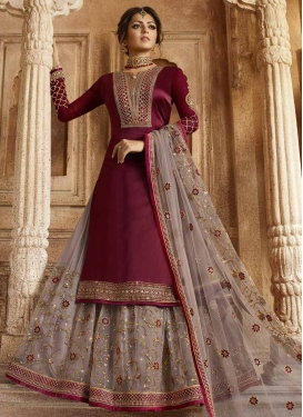 Drashti Dhami Grey and Maroon Designer Kameez Style Lehenga Choli For Festival