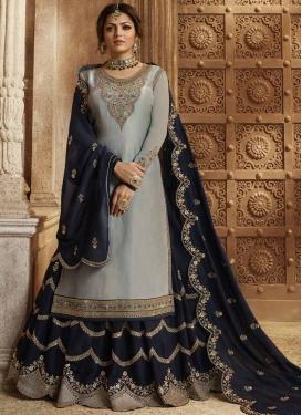 Drashti Dhami Grey and Navy Blue Faux Georgette Kameez Style Lehenga Choli
