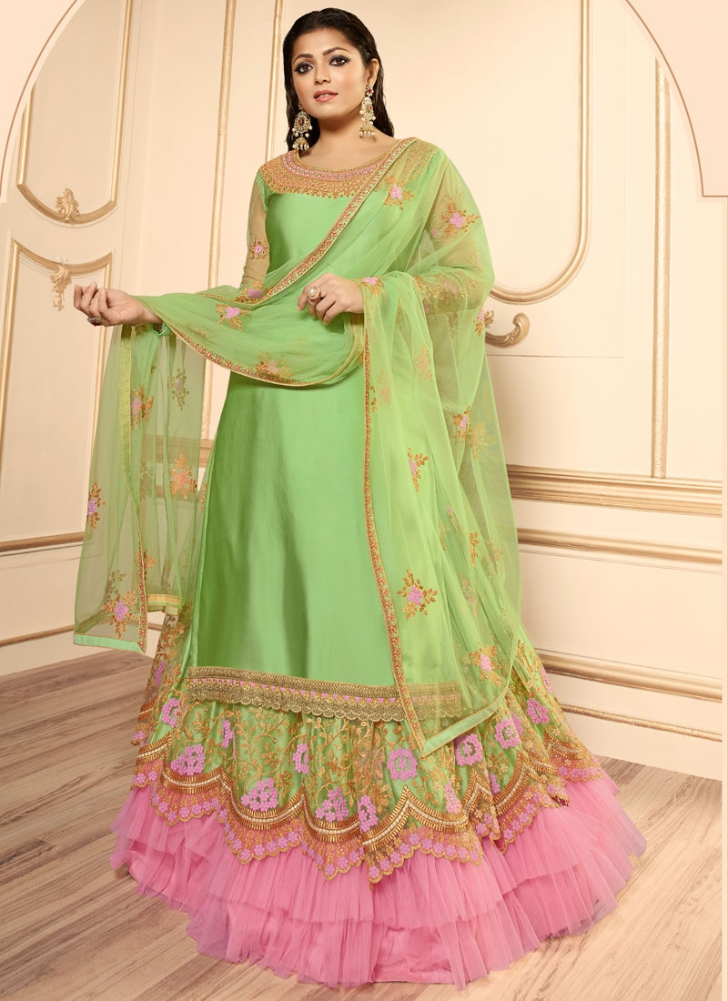 Drashti Dhami Mint Green and Pink Net Designer Kameez Style Lehenga