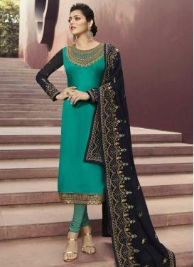 Drashti Dhami Navy Blue and Sea Green Satin Georgette Long Length Trendy Pakistani Suit
