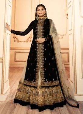 Drashti Dhami Net Booti Work Beige and Black Designer Kameez Style Lehenga Choli