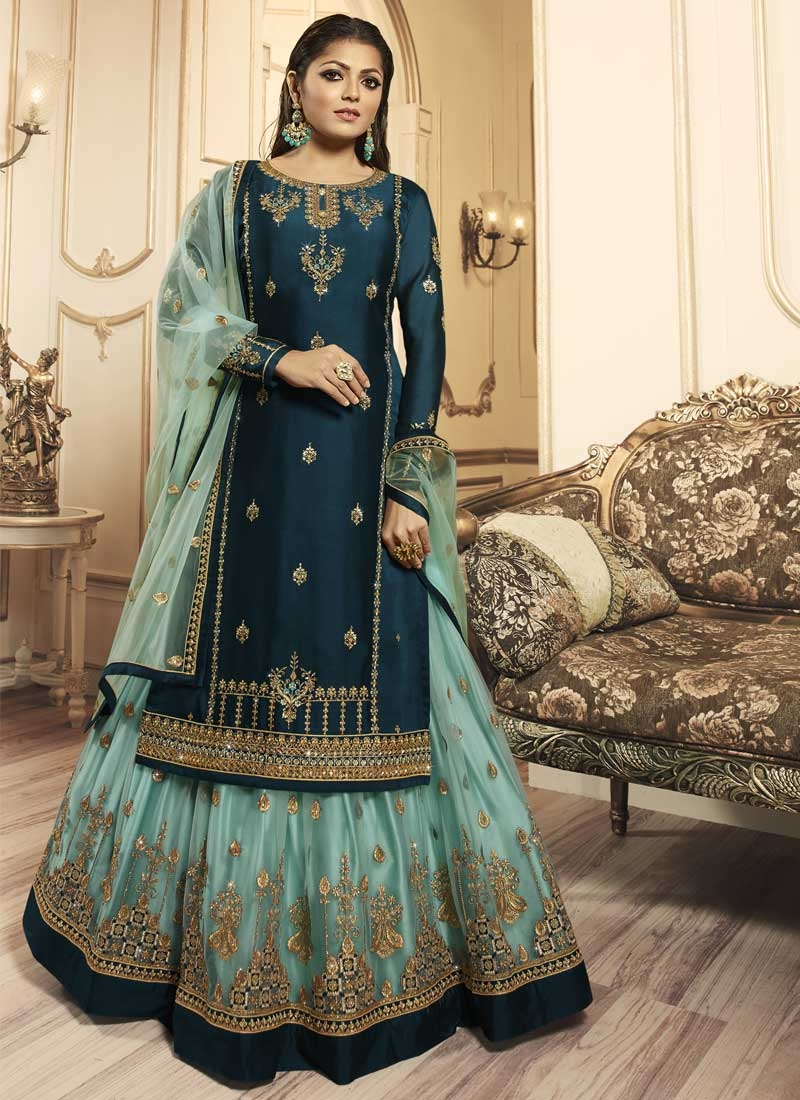 Drashti Dhami Net Kameez Style Lehenga Choli