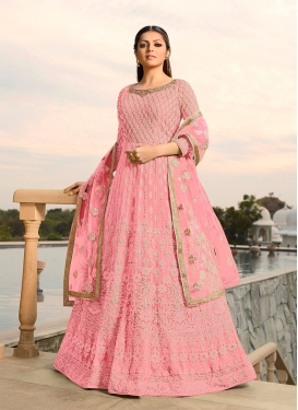 Drashti Dhami Pink Faux Georgette Floor Length Anarkali Suit