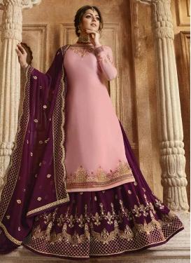Drashti Dhami Satin Georgette Designer Kameez Style Lehenga
