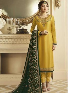 Drashti Dhami Satin Georgette Pakistani Straight Salwar Suit