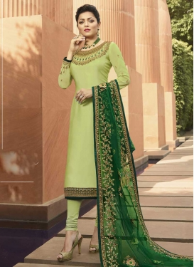 Drashti Dhami Satin Georgette Pakistani Straight Salwar Suit For Ceremonial