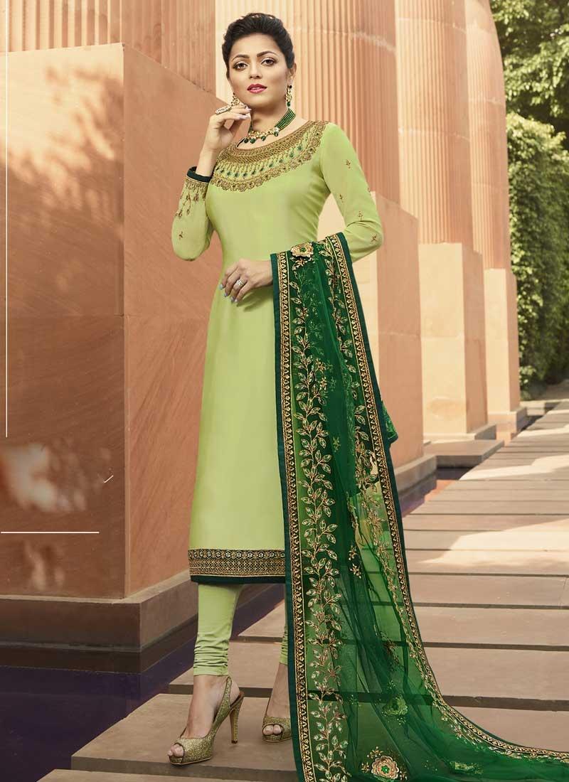 Drashti Dhami Satin Georgette Pakistani Straight Salwar Suit For Ceremonial