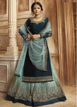 Drashti Dhami Teal and Turquoise Designer Kameez Style Lehenga