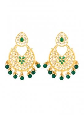 Elegant Beads Work Gold Rodium Polish Earrings For Festival