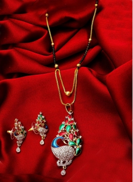 Elegant Gold Rodium Polish Alloy Mangalsutra Set For Festival
