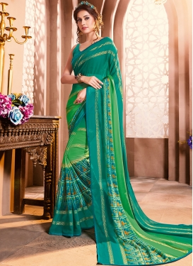 Elegant Green Foil print Casual Saree