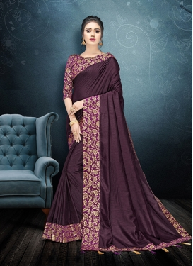 Elite Lace Purple Art Silk Classic Saree