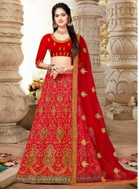 Embroidered Art Silk Lehenga Choli in Red
