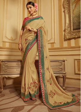 Embroidered Art Silk Traditional Designer Saree in Beige