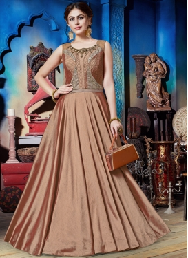 Embroidered Art Silk Trendy Gown in Brown