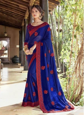 Embroidered Faux Georgette Saree in Blue
