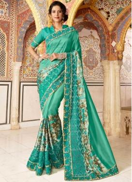 Embroidered Satin Silk Classic Designer Saree