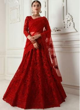 Embroidered Satin Silk Designer A Line Lehenga Choli in Red