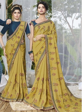 Embroidered Work Aloe Veera Green and Teal Designer Traditional Saree