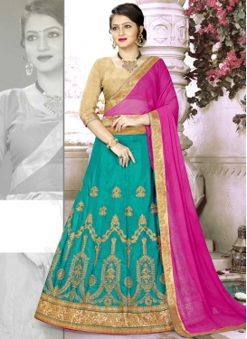 Embroidered Work Aqua Blue and Beige Trendy Lehenga