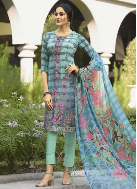 Embroidered Work Aqua Blue and Grey Pant Style Classic Suit