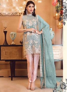Embroidered Work Aqua Blue and Salmon Faux Georgette Pant Style Classic Salwar Suit
