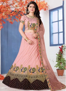 Embroidered Work Art Silk A - Line Lehenga