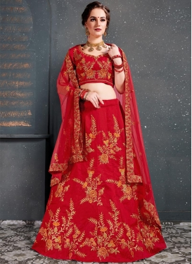 Embroidered Work Art Silk A Line Lehenga Choli