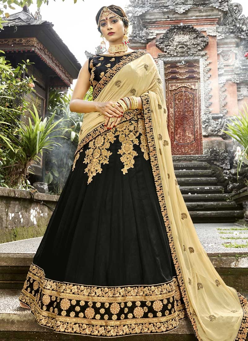 Embroidered Work Art Silk Black and Cream A - Line Lehenga