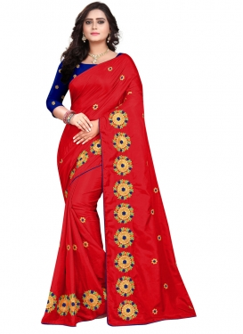 Embroidered Work Art Silk Blue and Red Trendy Saree
