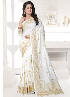 Embroidered Work Art Silk Contemporary Style Saree For Festival