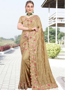 Embroidered Work Art Silk Designer Contemporary Saree For Ceremonial