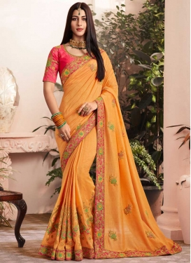 Embroidered Work Art Silk Designer Contemporary Style Saree