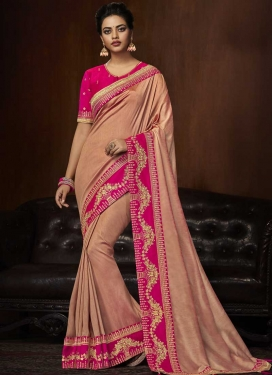 Embroidered Work Art Silk Designer Contemporary Style Saree For Festival