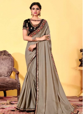 Embroidered Work Art Silk Designer Traditional Saree For Ceremonial