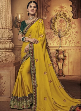 Embroidered Work Art Silk Green and Yellow Trendy Saree