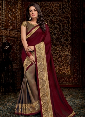 Embroidered Work Art Silk Half N Half Saree