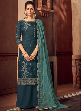 Embroidered Work Art Silk Palazzo Straight Salwar Suit