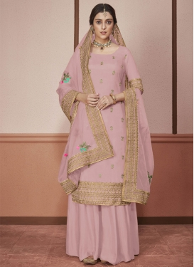 Embroidered Work Art Silk Palazzo Straight Suit