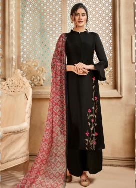 Embroidered Work Art Silk Palazzo Style Pakistani Salwar Suit